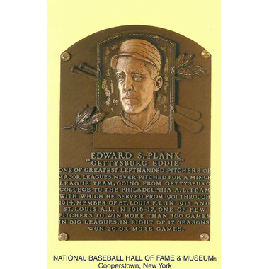 Eddie Plank Baseball Hall of Fame Plaque Postcard