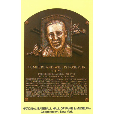Cumberland Posey Baseball Hall of Fame Plaque Postcard