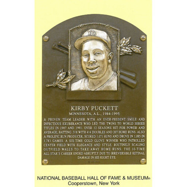 Kirby Puckett Baseball Hall of Fame Plaque Postcard