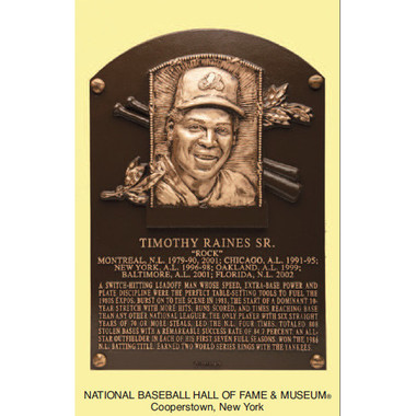 Tim Raines Baseball Hall of Fame Plaque Postcard