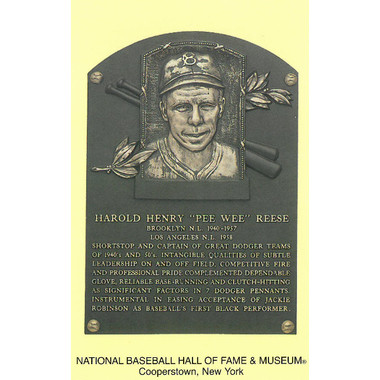 Pee Wee Reese Baseball Hall of Fame Plaque Postcard