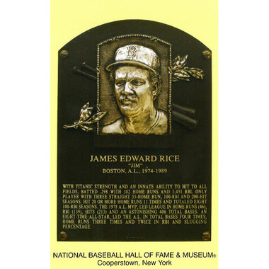 Jim Rice Baseball Hall of Fame Plaque Postcard