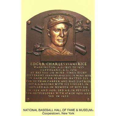 Sam Rice Baseball Hall of Fame Plaque Postcard