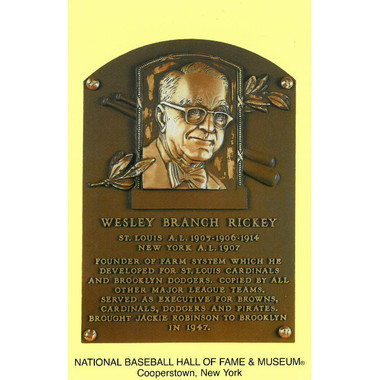 Branch Rickey Baseball Hall of Fame Plaque Postcard