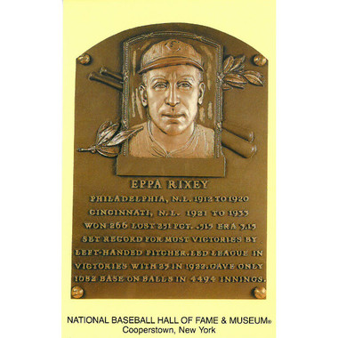 Eppa Rixey Baseball Hall of Fame Plaque Postcard