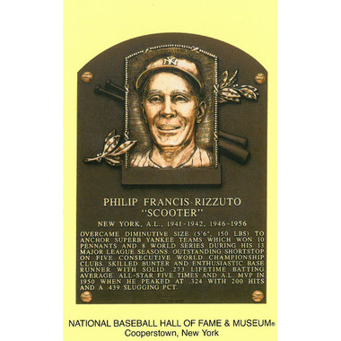 Phil Rizzuto Baseball Hall of Fame Plaque Postcard