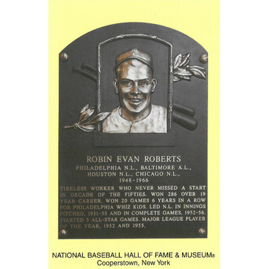 Robin Roberts Baseball Hall of Fame Plaque Postcard