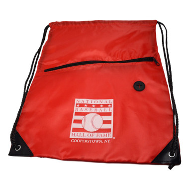 Baseball Hall of Fame Logo Red Back Sack Drawstring Bag