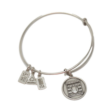 Wind & Fire Baseball Hall of Fame Silver Finish Charm Bangle Bracelet