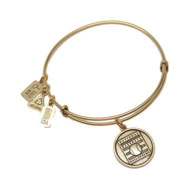 Wind & Fire Baseball Hall of Fame Gold Finish Charm Bangle Bracelet