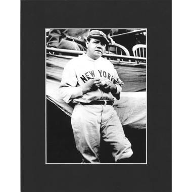Matted 8x10 Photo- Babe Ruth Signing Ball