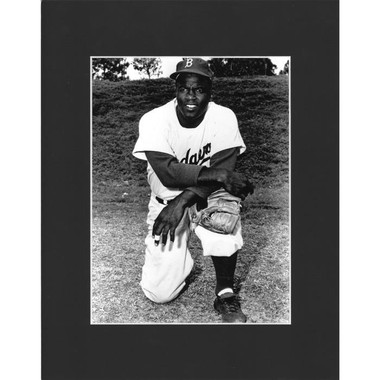 Matted 8x10 Photo- Jackie Robinson Kneeling