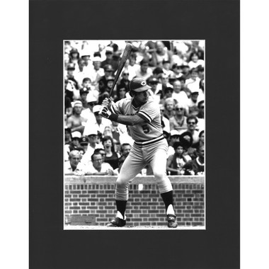 Matted 8x10 Photo- Johnny Bench Batting