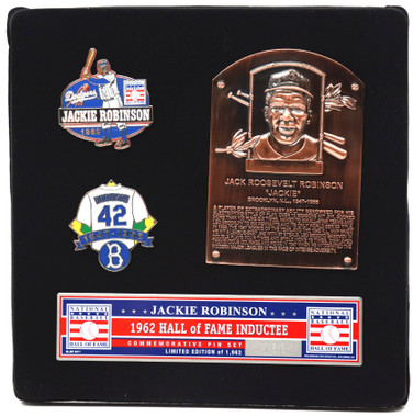 Jackie Robinson Hall of Fame Exclusive 3 Piece Pin Set with Plaque Bust Ltd Ed of 1,969