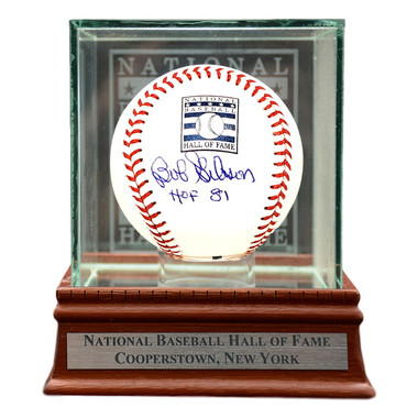 Bob Gibson Autographed Hall of Fame Logo Baseball with HOF 81 Inscription with Case (MLB/Fanatics)