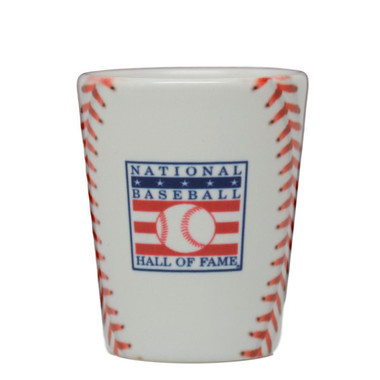 Baseball Hall of Fame Stitches Shot Glass