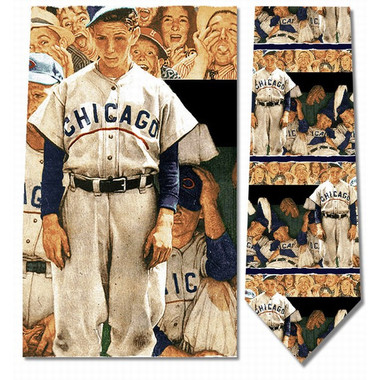 Norman Rockwell The Dugout Baseball Silk Neck Tie