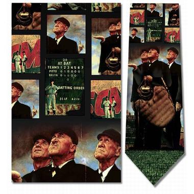 Norman Rockwell Umpires Rain Delay Baseball Silk Neck Tie