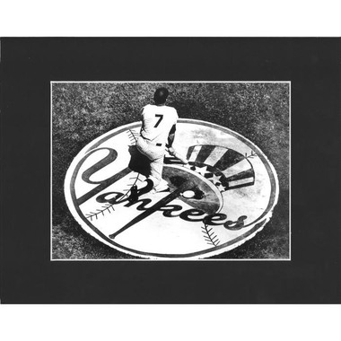 Matted 8x10 Photo- Mickey Mantle Yankee Logo
