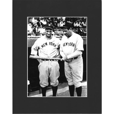 Matted 8x10 Photo- Babe Ruth & Lou Gehrig with Bat
