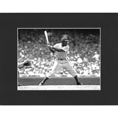 Matted 8x10 Photo- Jackie Robinson Batting