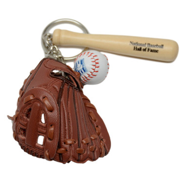 Baseball Hall of Fame Bat Ball & Glove Key Chain