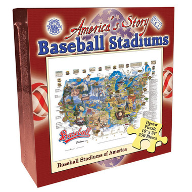 Baseball Stadiums of America Map 550 Piece Jigsaw Puzzle