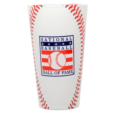 Baseball Hall of Fame Stitches Pint Glass