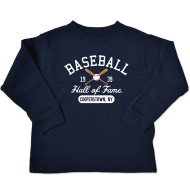 Toddler Baseball Hall of Fame Navy 1939 Crossed Bats Longsleeve T-Shirt