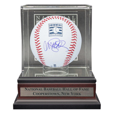 Ryne Sandberg Autographed Hall of Fame Logo Baseball with HOF Case (MAB)