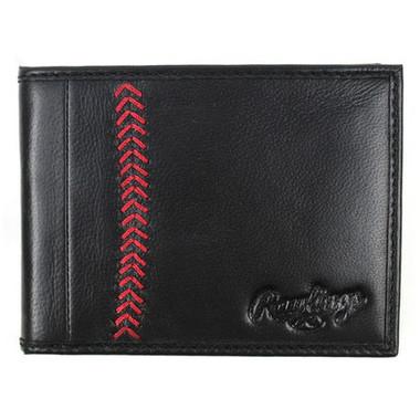 Rawlings Baseball Stitch Black Bi-Fold Wallet