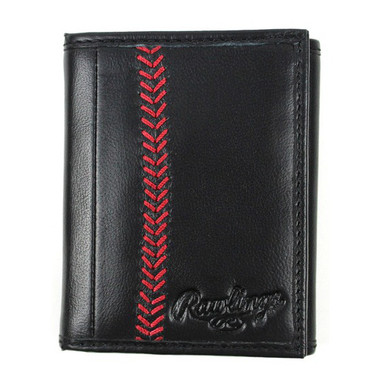 Rawlings Baseball Stitch Black Tri-Fold Wallet