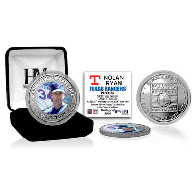Highland Mint Nolan Ryan Texas Rangers Hall of Fame Silver Photo Coin