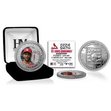 Highland Mint Ozzie Smith St. Louis Cardinals Hall of Fame Silver Photo Coin