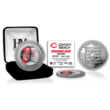 Highland Mint Johnny Bench Cincinnati Red Hall of Fame Silver Photo Coin