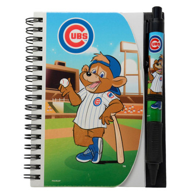 Chicago Cubs Clark Mascot Deluxe Hardcover 4x6 Notebook & Grip Pen Set