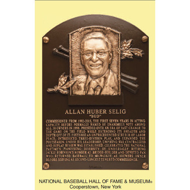 Bud Selig Baseball Hall of Fame Plaque Postcard