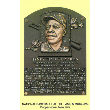 Hank Aaron Baseball Hall of Fame Plaque Postcard