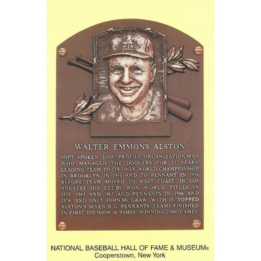 Walter Alston Baseball Hall of Fame Plaque Postcard