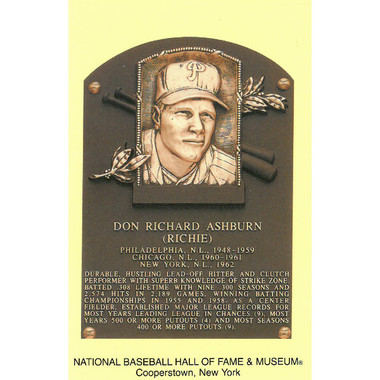 Richie Ashburn Baseball Hall of Fame Plaque Postcard