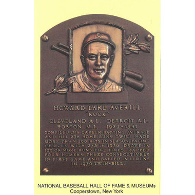 Earl Averill Baseball Hall of Fame Plaque Postcard