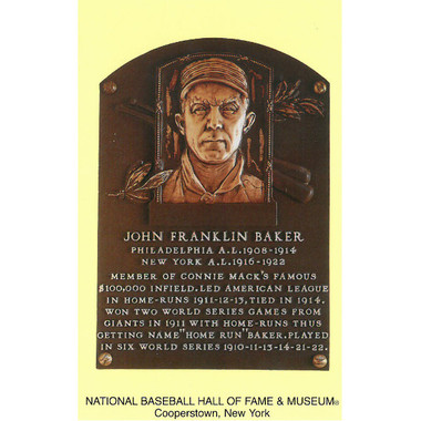 Frank Baker Baseball Hall of Fame Plaque Postcard