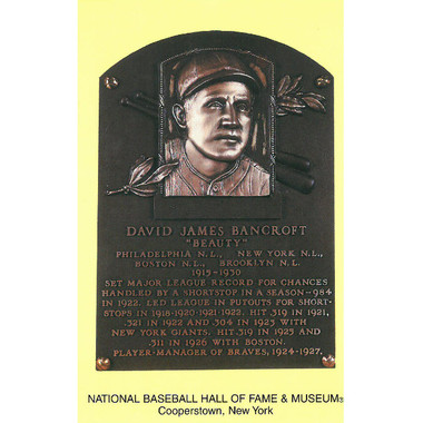 David Bancroft Baseball Hall of Fame Plaque Postcard