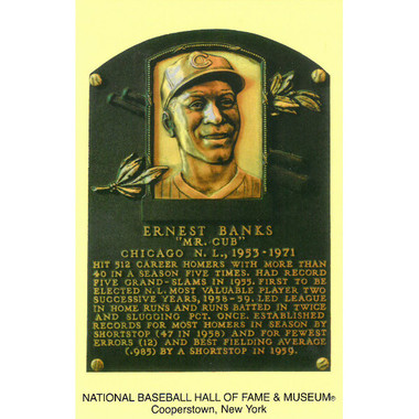 Ernie Banks Baseball Hall of Fame Plaque Postcard