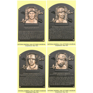 Class of 2015 Baseball Hall of Fame Plaque Postcard Set of 4 (Biggio, Johnson, Martinez, Smoltz)
