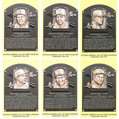 Class of 2014 Baseball Hall of Fame Plaque Postcard Set of 6 (Cox, Glavine, La Russa, Maddux, Thomas, Torre)