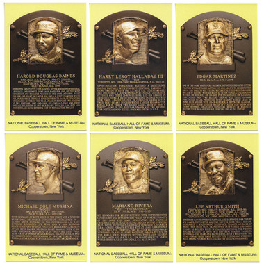 Class of 2019 Baseball Hall of Fame Plaque Postcard Set of 6 (Baines, Halladay, Martinez, Mussina, Rivera, Smith)