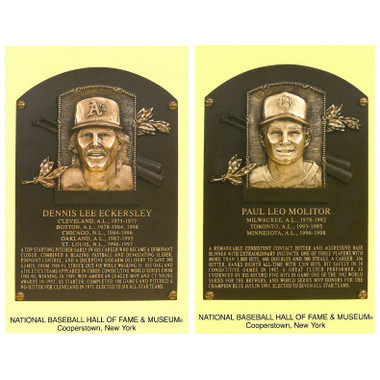 Class of 2004 Baseball Hall of Fame Plaque Postcard Set of 2 (Eckersley, Molitor)