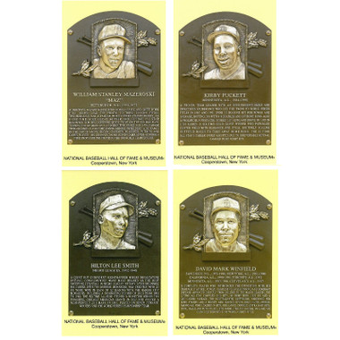Class of 2001 Baseball Hall of Fame Plaque Postcard Set of 4 (Mazeroski, Puckett, Smith, Winfield)