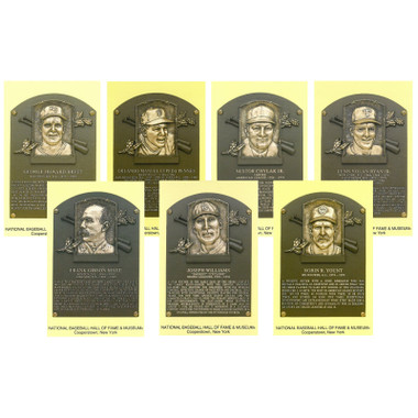 Class of 1999 Baseball Hall of Fame Plaque Postcard Set of 7 (Brett, Cepeda, Chylak, Ryan, Selee, Williams, Yount)